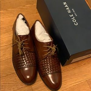 NEW Cole Haan 100% Leather Jagger Weaved Oxfords